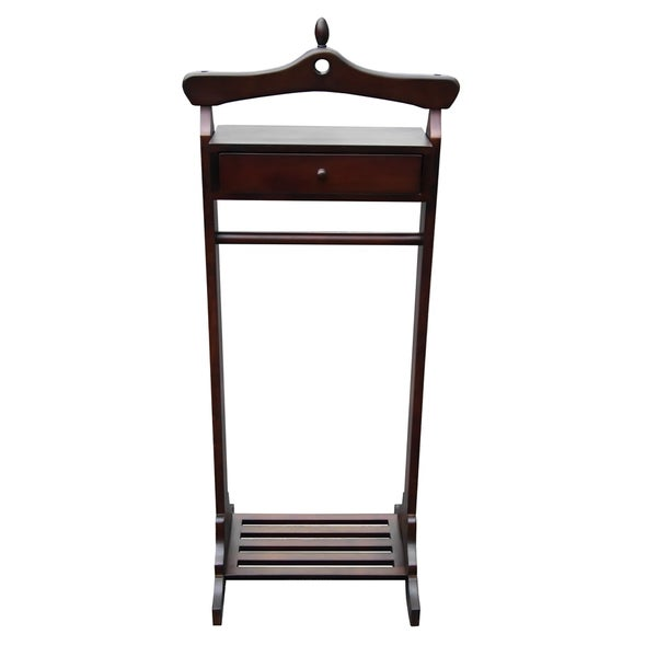 dart mahogany finish royal valet coat hanger rack stand - Clothes Hanger Rack