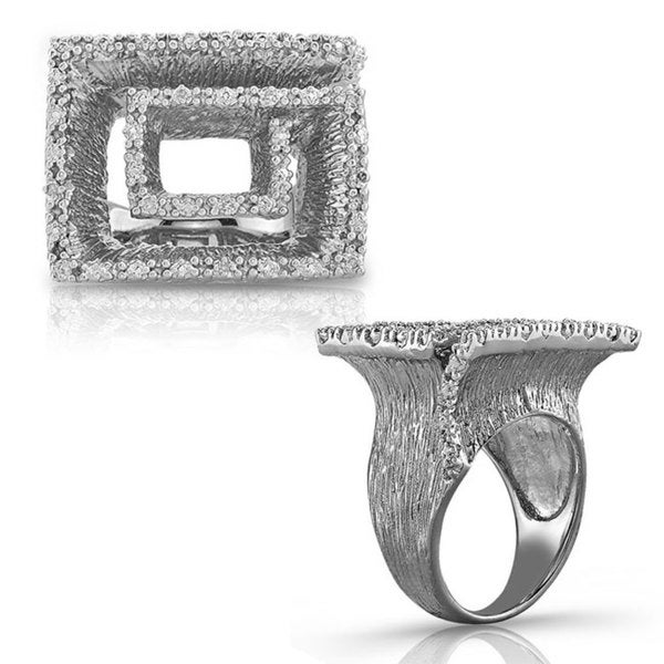 Sterling Silver Diamond Accent Textured Geometric Ring