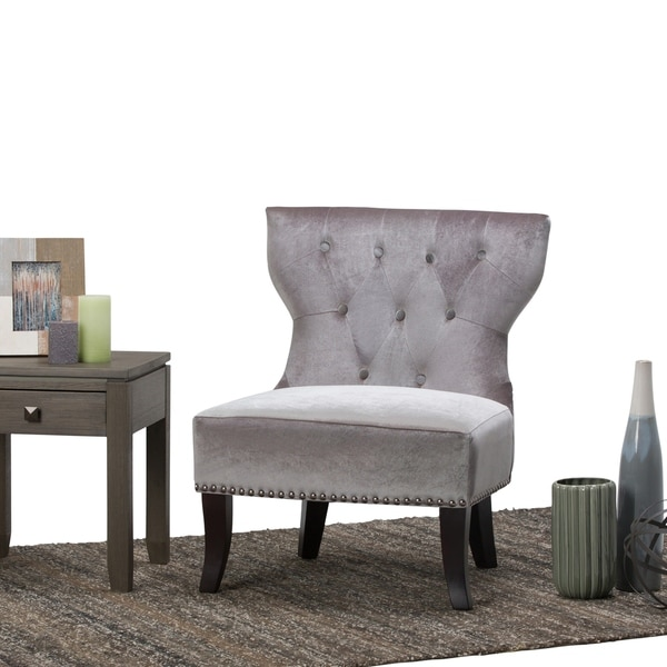 WYNDENHALL Waterloo Grey Tufted Accent Chair