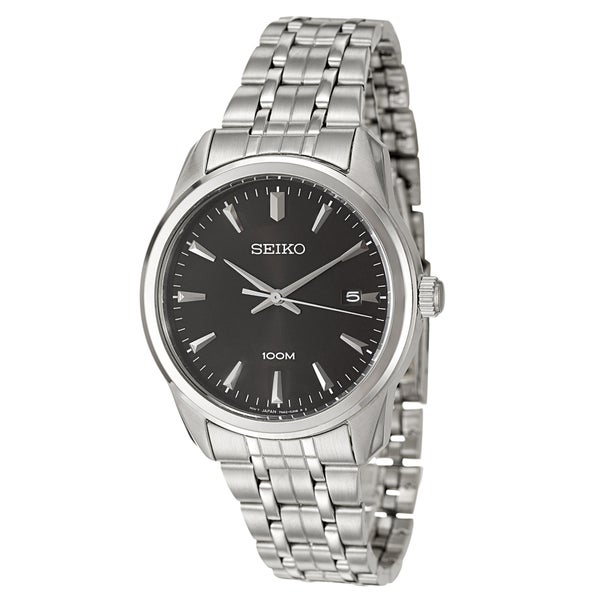Seiko Men's Stainless-Steel Black Dial Japanese Quartz Watch