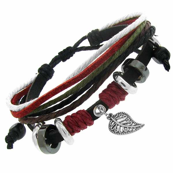 Gioelli Black Leather and Cotton Cord Multi-layer Bracelet. Opens flyout.