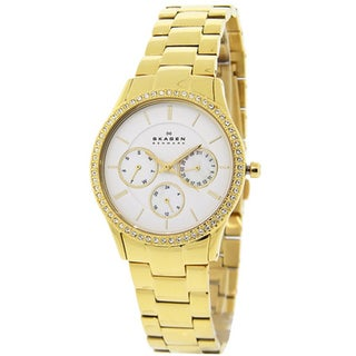 Skagen Women's 347LGXG1 'Glitz' Yellow Goldplated Stainless Steel Crystal Watch