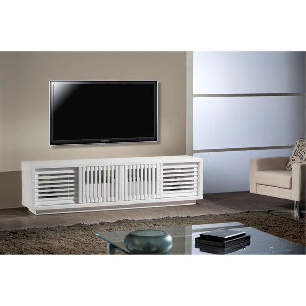 Furnitech contemporary high gloss white lacquer tv stand White media console