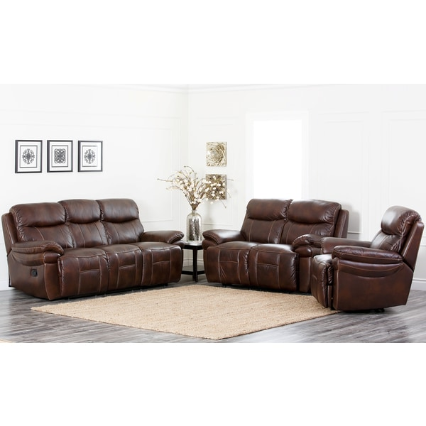 abbyson living aspen 3 piece premium top grain leather reclining set