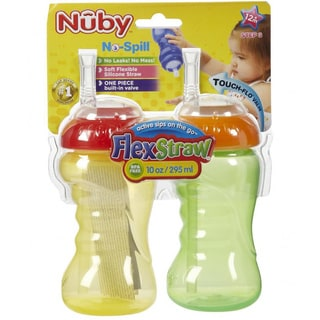 Nuby 10-ounce No-Spill Cup with Flexi Straw (Pack of 2)