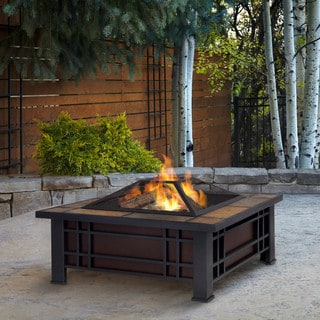 Real Flame Morrison 33.6 in. L x 33.6 in. W x 17.9 in. H Outdoor Fire Pit