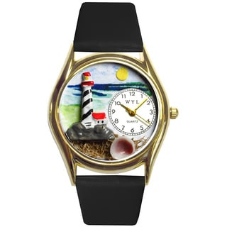 Whimsical Lighthouse Black Leather Watch