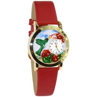 Whimsical Hummingbird Red Leather Watch