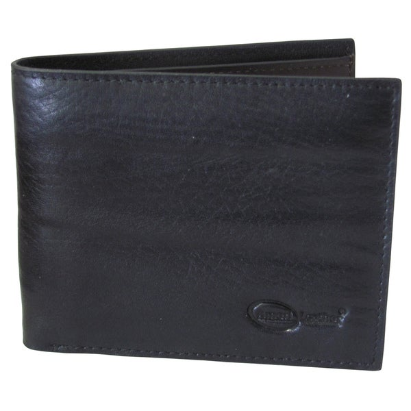 Amerileather Men's Black Leather Zip Bi-fold Wallet