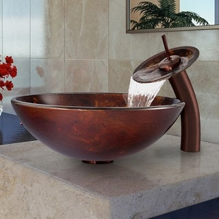 VIGO Brown and Gold Vessel Bathroom Sink and Waterfall Faucet Set