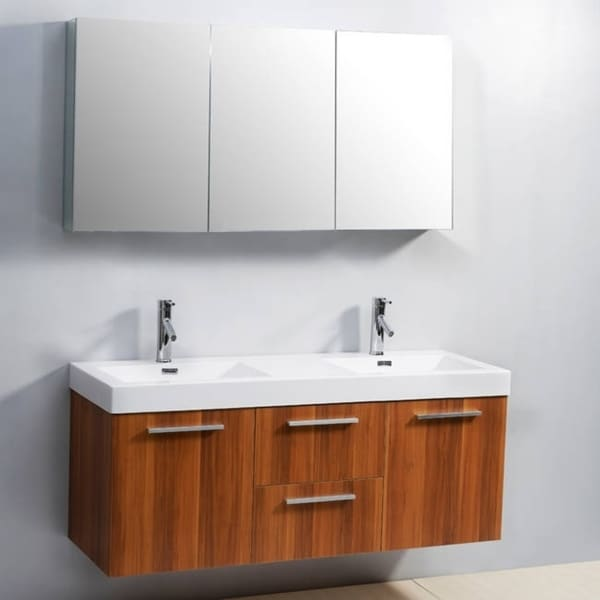 Virtu Usa Midori 54 Inch Polymarble Double Sink Bathroom Vanity Set