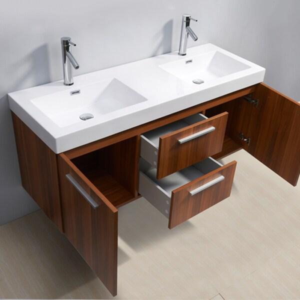 54 vanity double sink. Virtu USA Midori 54 inch Polymarble Double sink Bathroom Vanity Set  Free Shipping Today Overstock com 15257056