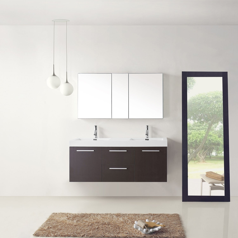Virtu USA Midori 54 Inch Polymarble Double Sink Bathroom Vanity Set (More  Options