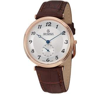 Grovana Men's 1276.5562 Silver Dial Rose Gold Brown Leather Strap Quartz Watch