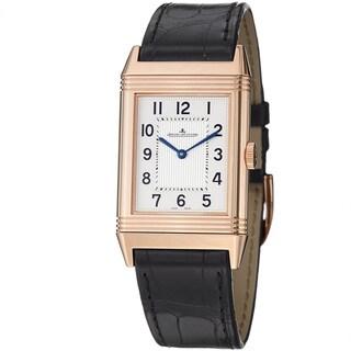 Jaeger-LeCoultre Men's 2782520 'Reverso GR' Silver Dial Rose Gold Strap Watch