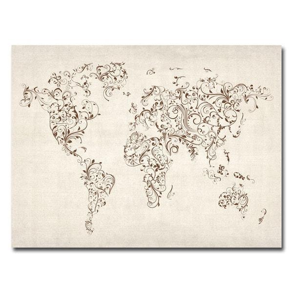 Michael Tompsett 'World Map - Swirls' Canvas Art
