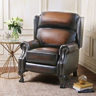 Abbyson Vienna Hand Rubbed Top Grain Leather Pushback Recliner