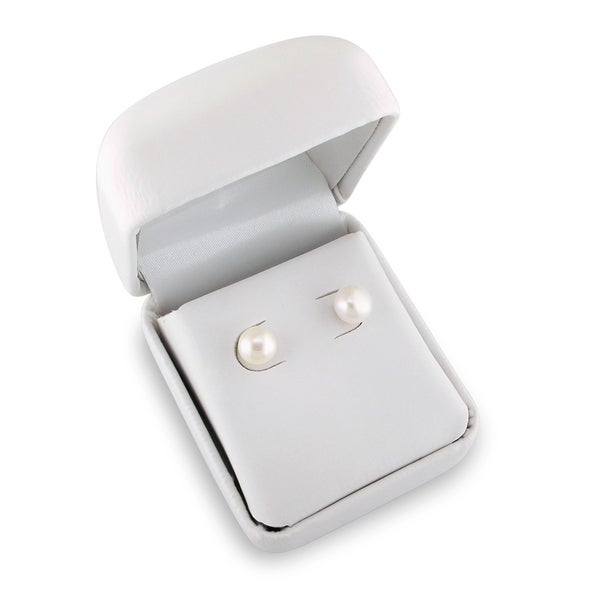 Miadora Silvertone White Pearl Stud Earrings (7-8 mm)