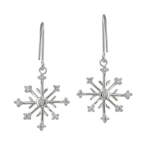 Icz Stonez Sterling Silver Cubic Zirconia Snow Flake Dangle Earrings