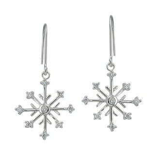 Icz Stonez Sterling Silver Cubic Zirconia Snow Flake Dangle Earrings