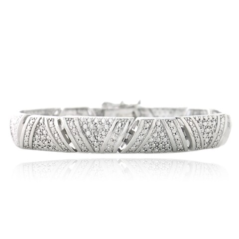 DB Designs Rhodium-plated Diamond Accent Bracelet