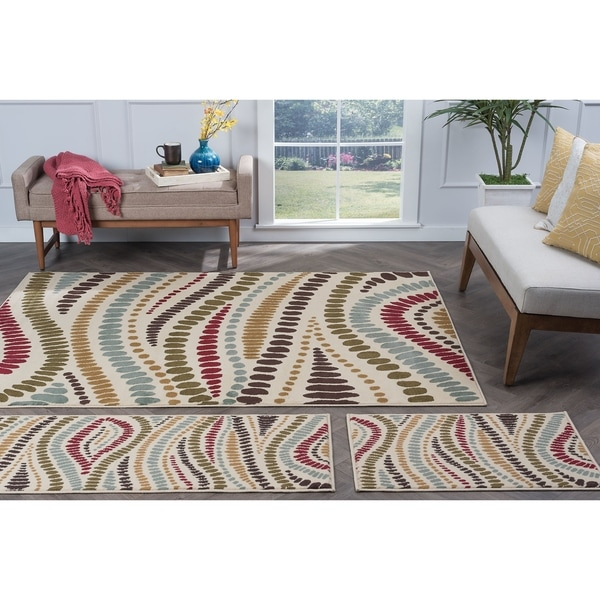 Alise Lagoon Beige Contemporary 3-Piece Area Rug Set - 5' x 7'