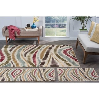Alise Lagoon Beige Contemporary 3-Piece Area Rug Set
