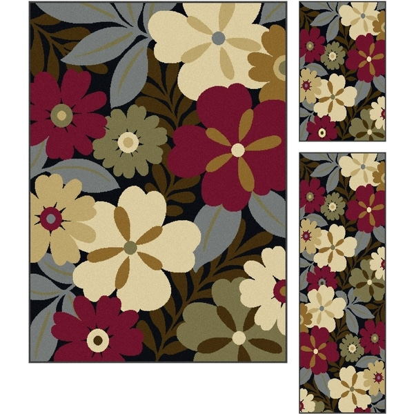 Alise Lagoon Multi 3-Piece Area Rug Set - 5 x 7, 1'8 x 5, and 1'8x 2'8