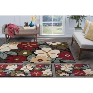 Alise Rugs Lagoon Contemporary Floral Three Piece Set - 5' x 7'