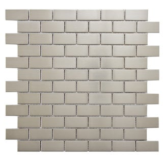 SomerTile 11.75x11.75-inch Anvil Standard Subway Stainless Steel Over Porcelain Mosaic Wall Tile (Ca