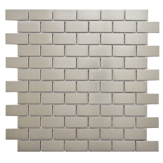 SomerTile 11.75x11.75-inch Anvil Standard Subway Stainless Steel Over Porcelain Mosaic Wall Tile (10 tiles/9.6 sqft.)