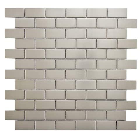 """SomerTile Meta Standard Subway 11.75"""" x 11.75"""" Stainless Steel Metal Over Ceramic Mosaic Tile"""