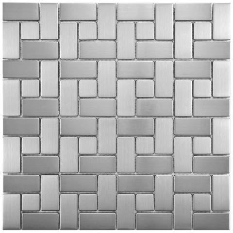 """SomerTile Meta Spiral 11.75"""" x 11.75"""" Stainless Steel Metal Over Ceramic Mosaic Tile"""
