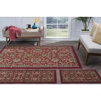 Alise Lagoon 3-piece Red Transitional Area Rug Set - 5' x 7'