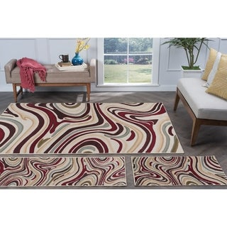 Alise Rugs Lagoon Contemporary Abstract Three Piece Set - 5' x 7'