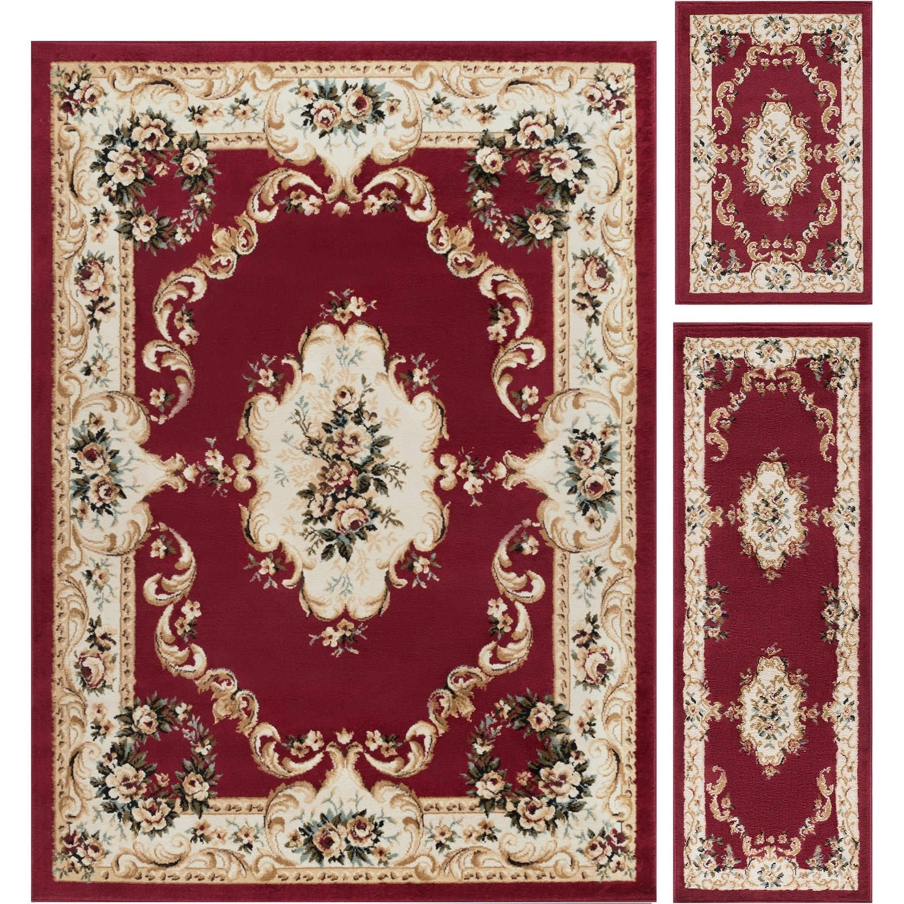 Alise Lagoon 3-piece Red Traditional Area Rug Set, Size 5...