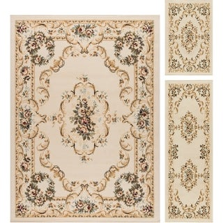 Alise Lagoon 3-piece Beige Traditional Area Rug Set