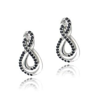 Glitzy Rocks Sterling Silver Black Spinel Infinity Earrings