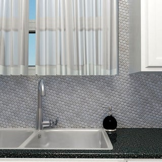 SomerTile 11.75x11.75-inch Penny Stainless Steel Over Porcelain Mosaic Wall Tile (10 tiles/9.6 sqft.)