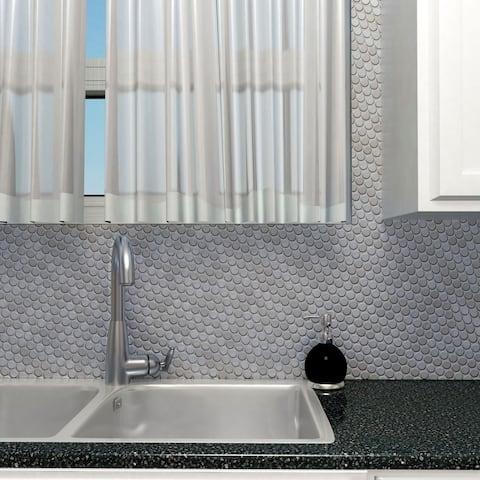 "SomerTile Meta Penny Round 11.75"" x 11.75"" Stainless Steel Metal Over Ceramic Mosaic Tile"