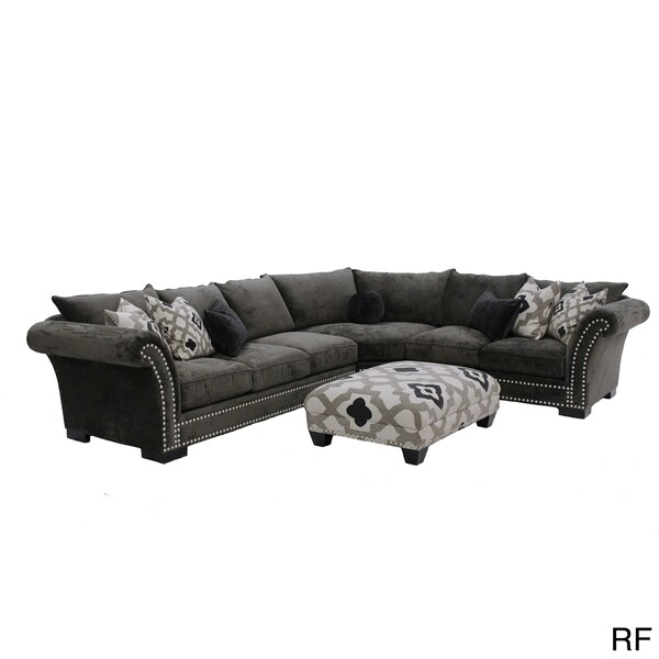 Cambria 3-piece Grey Nail Head Fabric Oversized Sectional and Ottoman