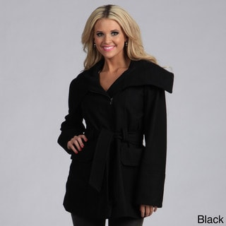 Trilogi Women's Wool Belted Funnel Neck Collar Coat