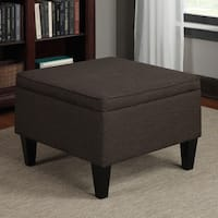 Clay Alder Home Pope Street Chocolate Brown Linen Table Storage Ottoman