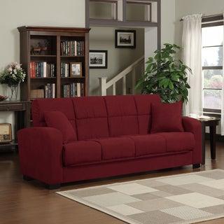 Portfolio Turco Convert-a-Couch Crimson Red Microfiber Futon Sofa Sleeper