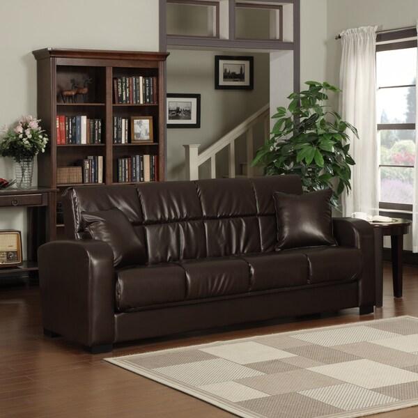 Handy Living Turco Convert-a-Couch  Brown Renu Leather Futon Sofa Sleeper