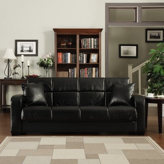 Handy Living Turco Convert-a-Couch Black Renu Leather Futon Sofa Sleeper