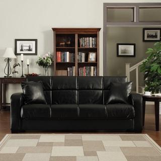 Handy Living Turco Convert A Couch Black Renu Leather Futon Sofa Sleeper
