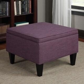 Handy Living Engle Amethyst Purple Linen Table Storage Ottoman