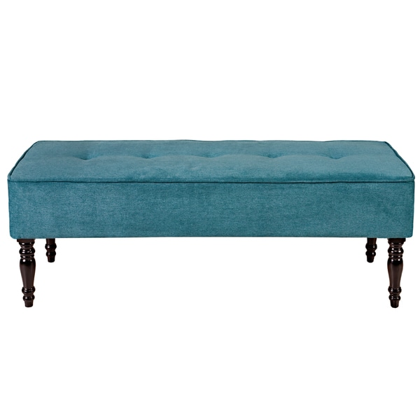 Handy Living Brighton Hill Parisian Teal Blue Velvet Large Bench