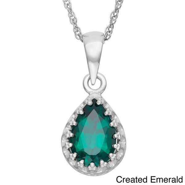 Gioelli Tiara Collection Sterling Silver 9x6mm Pear-cut Gemstone Crown Necklace